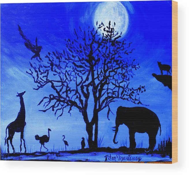 Beautiful Night With A Full Moon Wood Print featuring the painting Full Moon in Africa by Pilar Martinez-Byrne