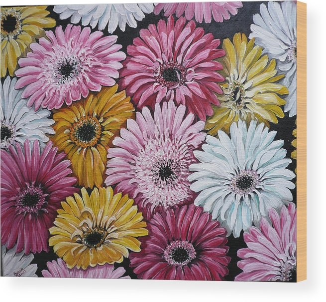 Flower Paintings Daisy Paintings Floral Paintings Blooms Color .gerbera Daisy Paintings Greeting Card Painting S Canvas Painting Poster Print Paintings Wood Print featuring the painting Gebera Daisies by Karin Dawn Kelshall- Best