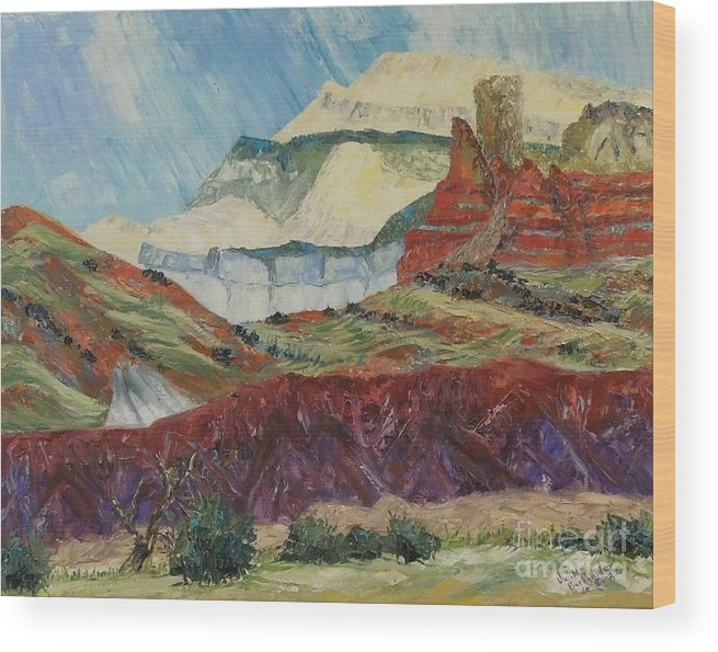 Mountain Wood Print featuring the painting Ghost Mountain by Judith Espinoza