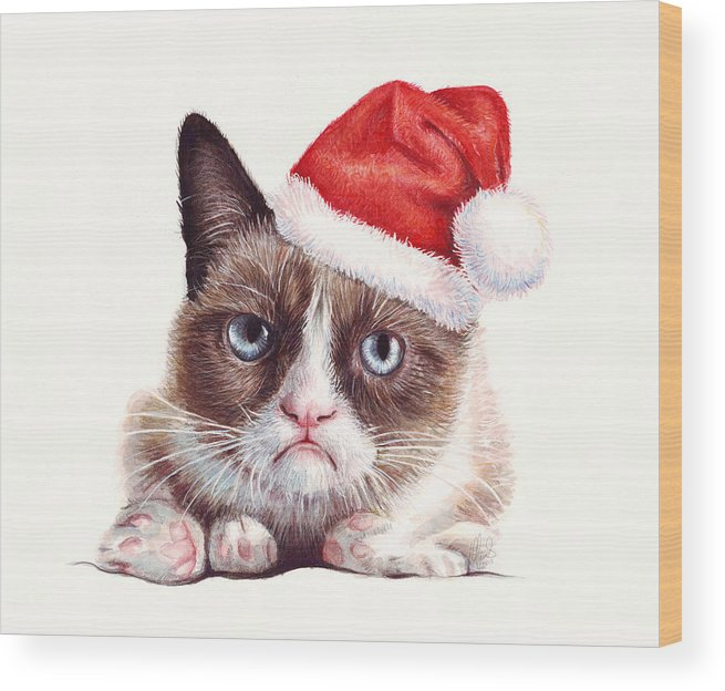 Grumpy Wood Print featuring the painting Grumpy Cat as Santa by Olga Shvartsur