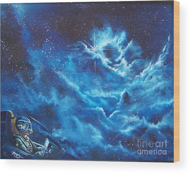 Astro Wood Print featuring the painting Heavens Gate by Murphy Elliott