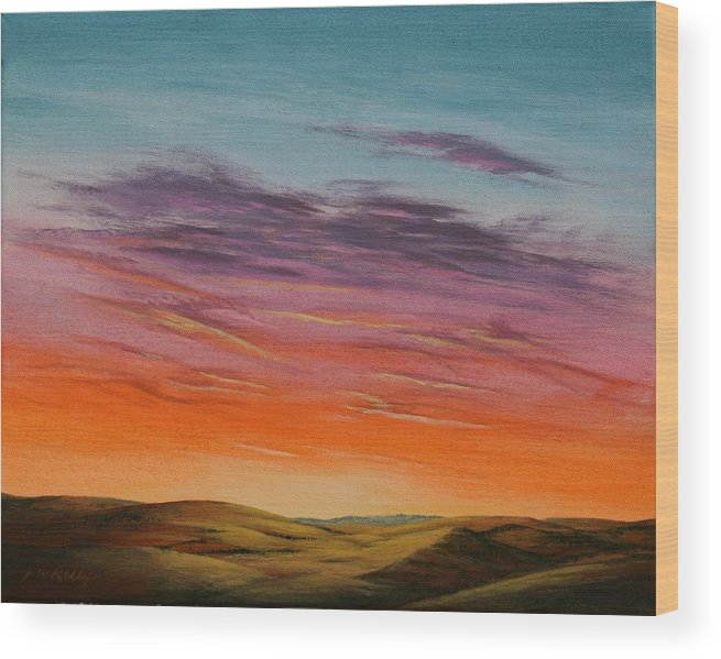 High Plains Wood Print featuring the painting High Plains Sunset by J W Kelly