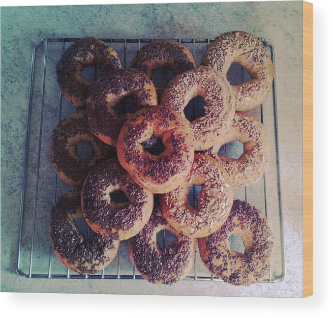 Flax Seed Wood Print featuring the photograph Homemade Bagels by Lasse Kristensen
