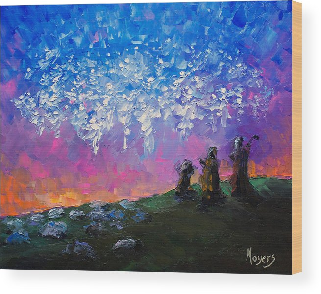8x10 Wood Print featuring the painting Host of Angels by Mike Moyers
