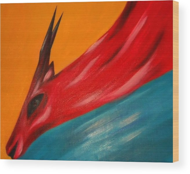 Nature Wood Print featuring the painting Impala in red by Joseph Ferguson
