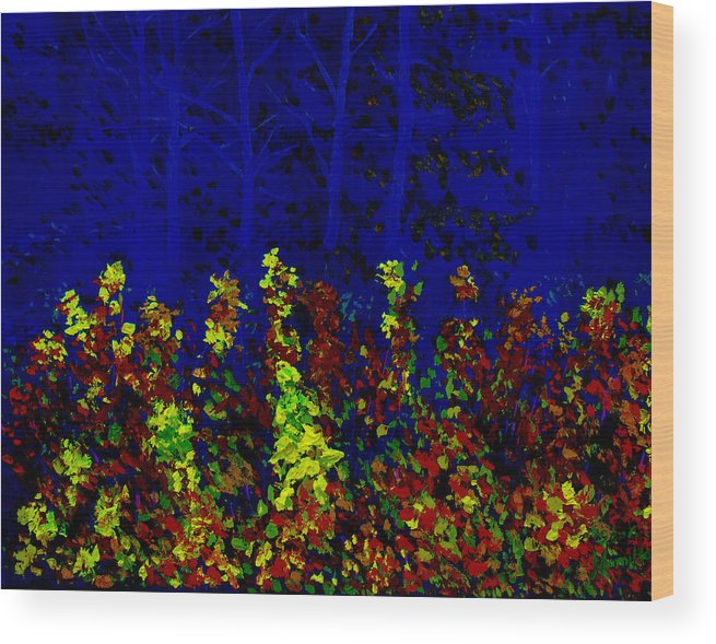 Landscape Wood Print featuring the painting Impression 2 by Stan Hamilton