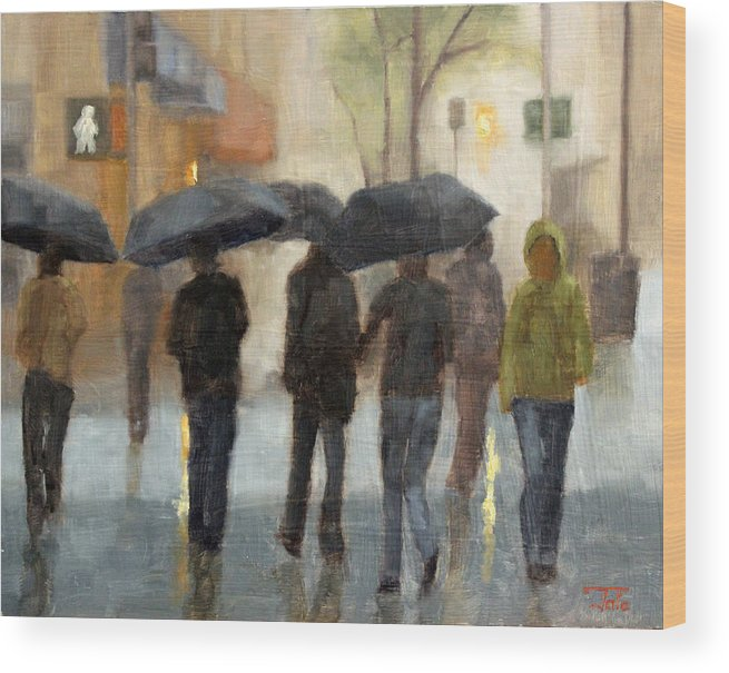 Cityscape Wood Print featuring the painting In spite of rain by Tate Hamilton
