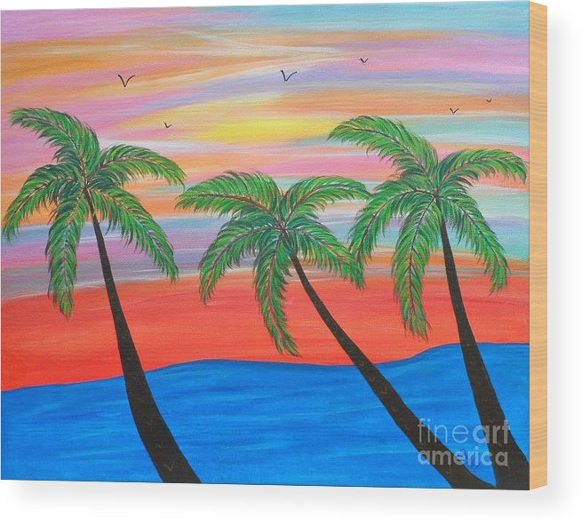 Abstract Wood Print featuring the painting Island Palms by JoNeL Art