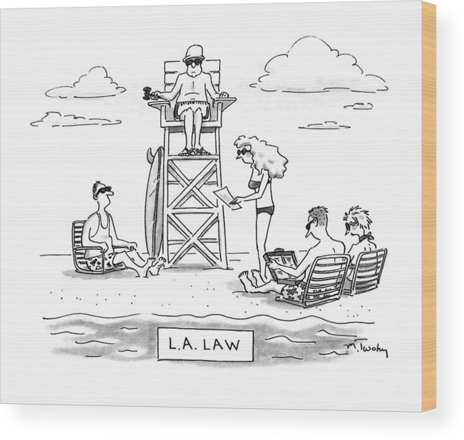 Law Wood Print featuring the drawing L.a. Law by Mike Twohy