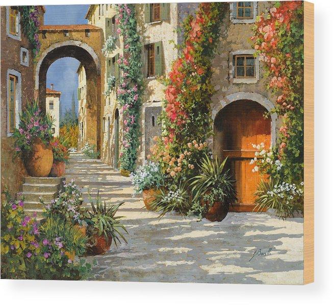 Landscape Wood Print featuring the painting La Porta Rossa Sulla Salita by Guido Borelli