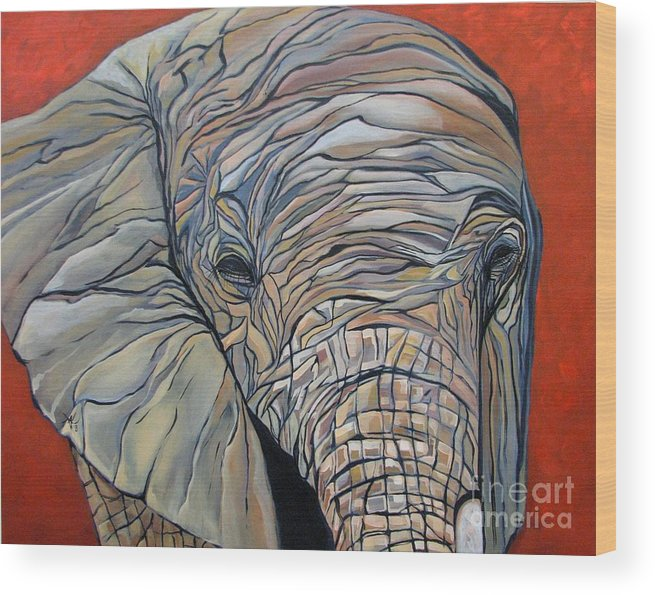 Elephant Wood Print featuring the painting Lazy Boy by Aimee Vance
