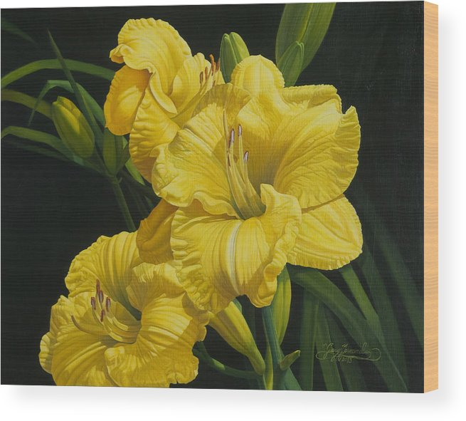 Floral Wood Print featuring the painting Lilies for Olivia Rose by Gary Hernandez