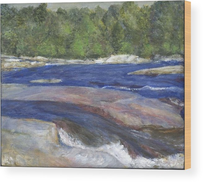 Moose River Wood Print featuring the painting Little Rapids by Sheila Mashaw