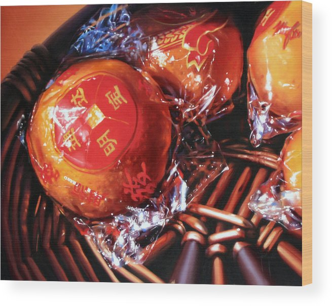 Mandarins Wood Print featuring the painting Mandarins in Cello Packets by Dianna Ponting