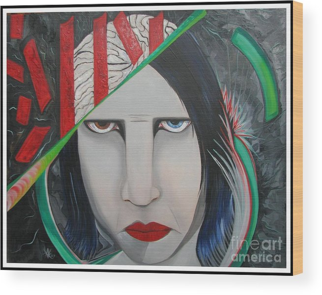 Marilyn Manson Wood Print featuring the painting Marilyn by Aimee Vance