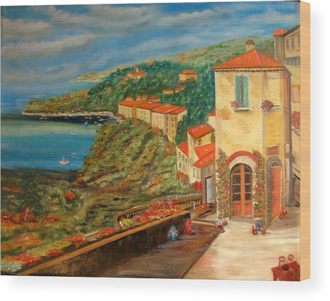 Coast Wood Print featuring the painting Mediterrean Coast by Kenneth LePoidevin