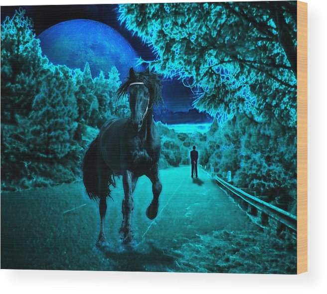Horse Wood Print featuring the photograph Midnight Vision by Jim Painter
