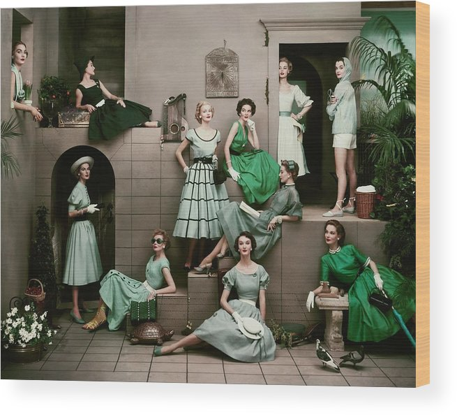 Accessories Wood Print featuring the photograph Models In Various Green Dresses by Frances Mclaughlin-Gill
