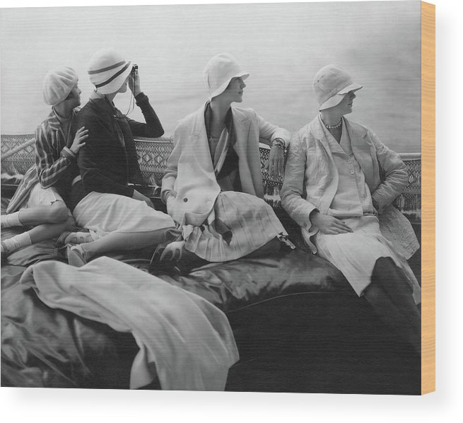 Accessories Wood Print featuring the photograph Models On A Yacht by Edward Steichen