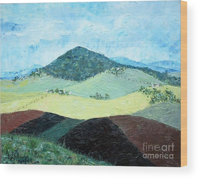 Centered Mole Hill With Dark Foreground; Plowed Fields Wood Print featuring the painting Mole Hill - SOLD by Judith Espinoza