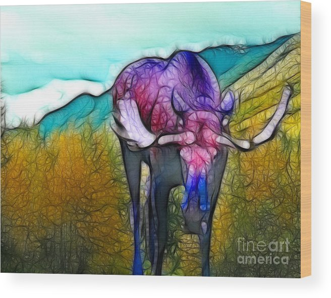 Moose Wood Print featuring the mixed media Moose in Pure Light by Francine Dufour Jones