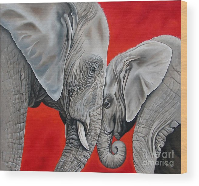 Elephant Wood Print featuring the painting Mothers Love by Ilse Kleyn