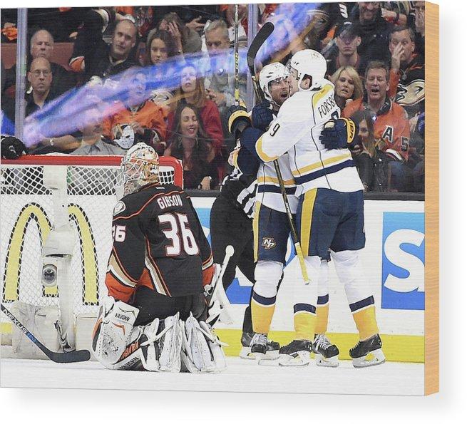 Playoffs Wood Print featuring the photograph Nashville Predators V Anaheim Ducks - by Harry How