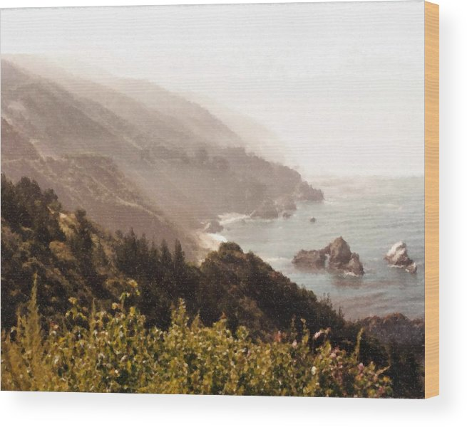 Pacific Coastal Highway View Painting Wood Print featuring the digital art Pacific Coastal Highway View Painting by Asbjorn Lonvig