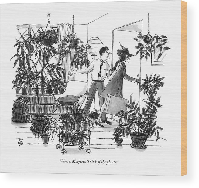 (pleading Husband Wood Print featuring the drawing Please, Marjorie. Think Of The Plants! by Everett Opie