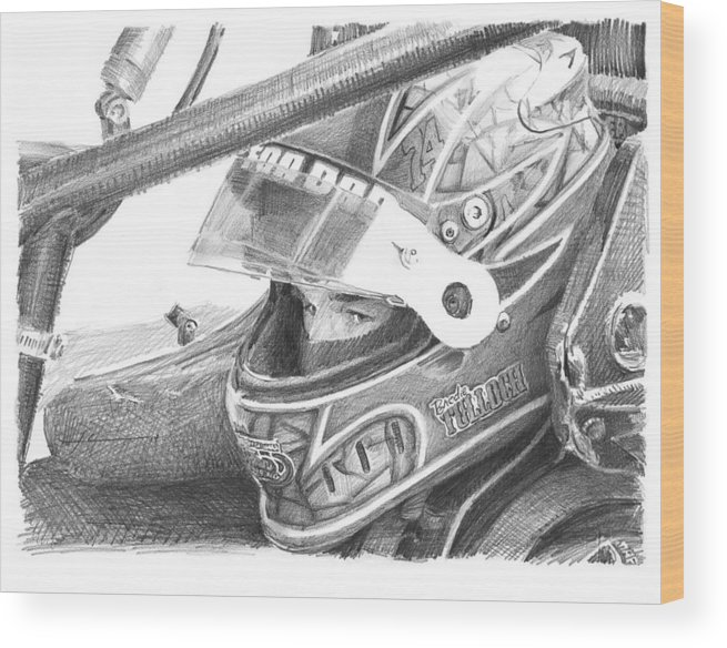 Www.miketheuer.com Racecar Driver Pencil Portrait Wood Print featuring the drawing Racecar Driver Pencil Portrait by Mike Theuer