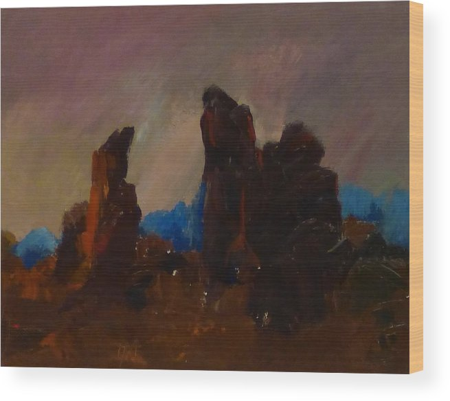 Rocks Wood Print featuring the painting Rocky Landscape I by Irena Jablonski