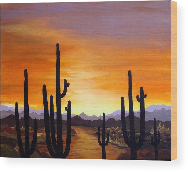 Acrylic Wood Print featuring the painting Saguaro Sunset by Carol Sabo