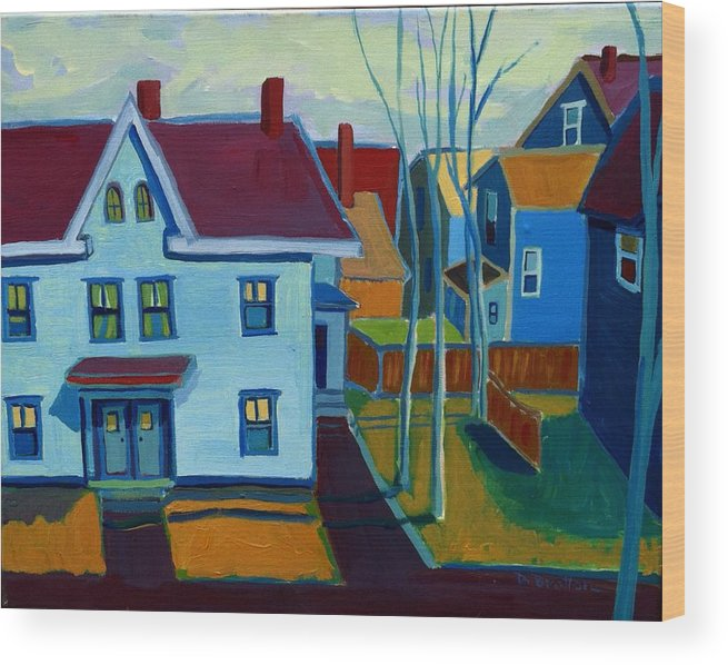 City Scene Wood Print featuring the painting Saints Memorial View by Debra Bretton Robinson