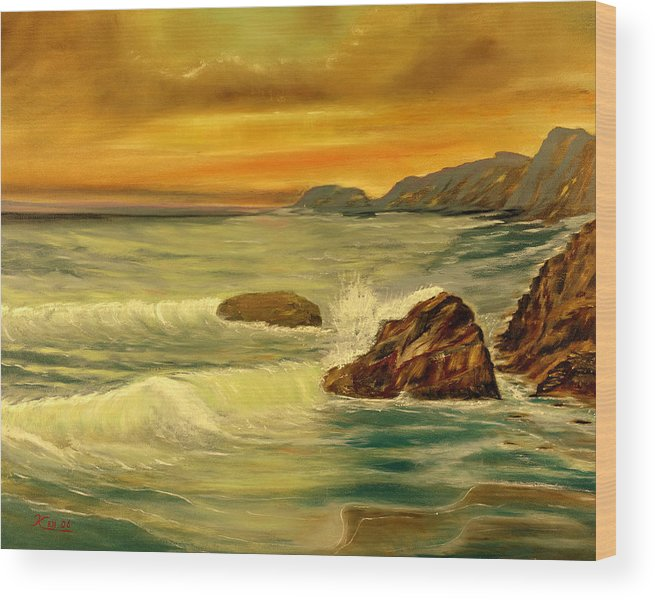Seascape Wood Print featuring the painting Sea Scape 1 by Kenneth LePoidevin