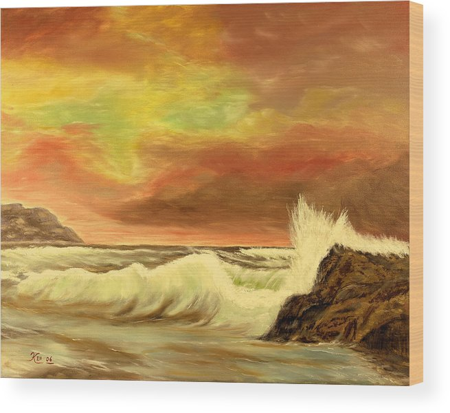 Seascape Wood Print featuring the painting Sea Scape 2 by Kenneth LePoidevin