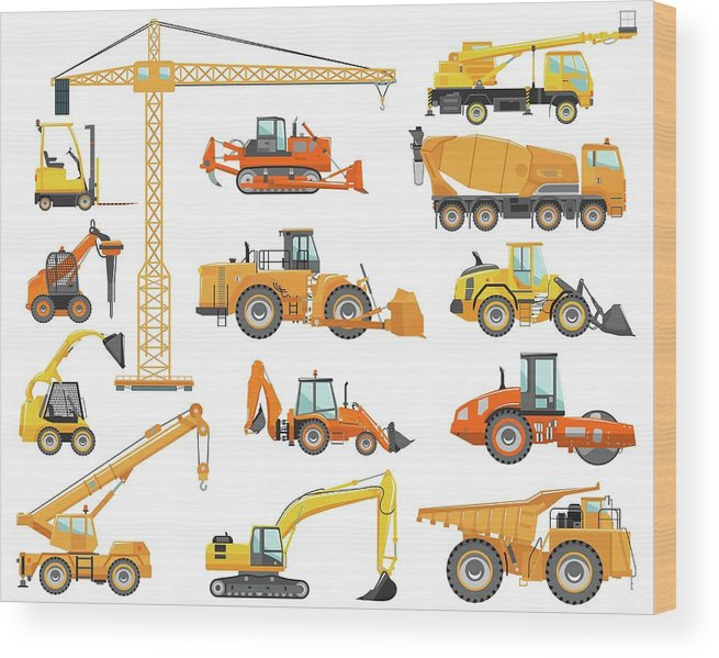 Hydraulic Platform Wood Print featuring the digital art Set Of Detailed Heavy Construction And by Alexyustus