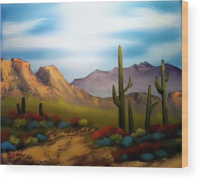 Landscape Wood Print featuring the painting Shades of the Desert by Dina Sierra
