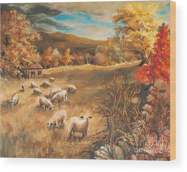 Oil Painting Wood Print featuring the painting Sheep in October's field by Joy Nichols