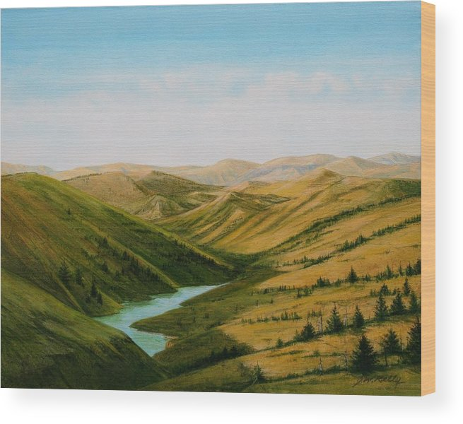 High Plains Landscape Wood Print featuring the painting Smiley Canyon Wash by J W Kelly