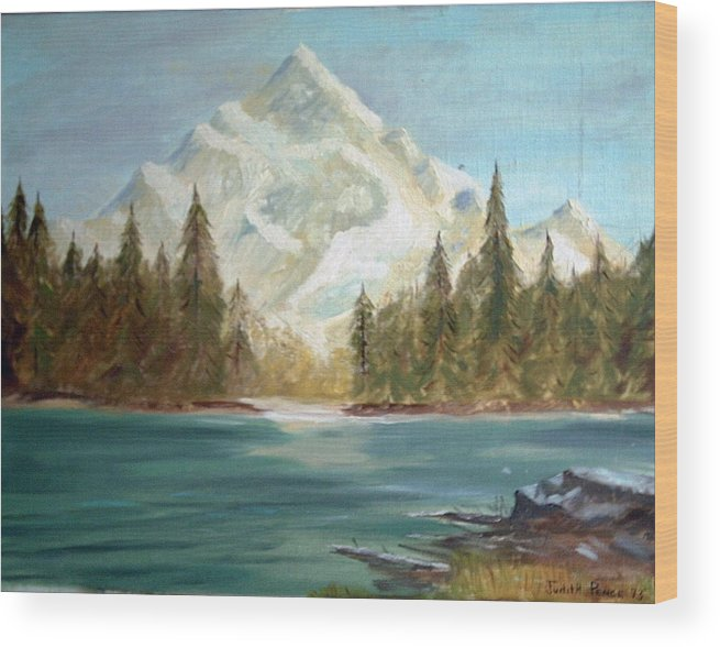 Mountain Wood Print featuring the painting Snow Covered Mountain by Judi Pence
