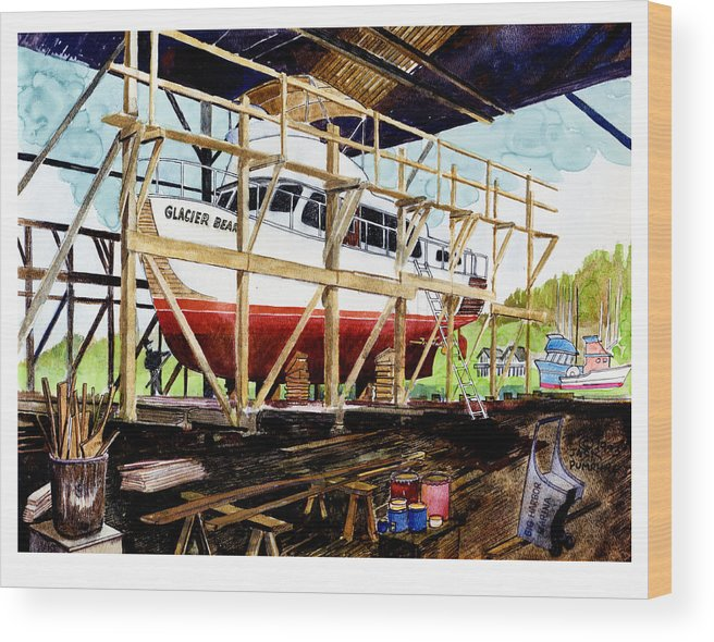 Marinas Wood Print featuring the painting Yacht Glacier Bear Hauled Out In Gig Harbor by Jack Pumphrey