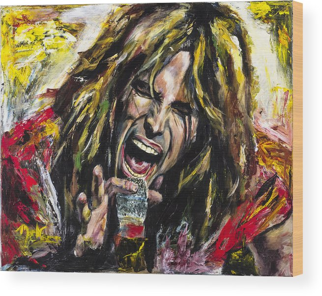 Steven Tyler Wood Print featuring the painting Steven Tyler by Mark Courage