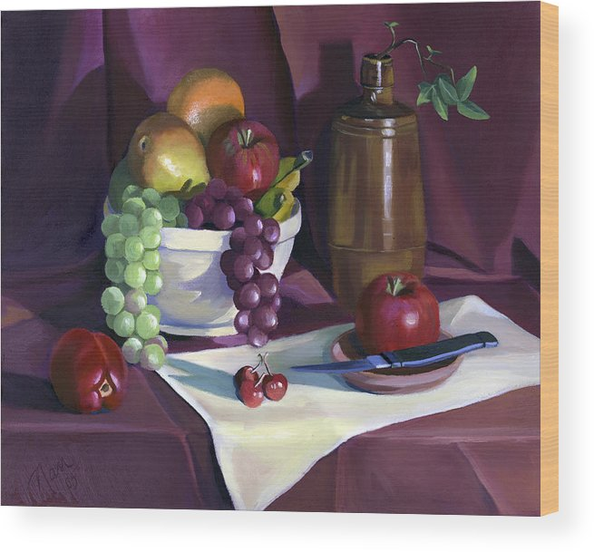 Fine Art Wood Print featuring the painting Still Life with Apples by Nancy Griswold