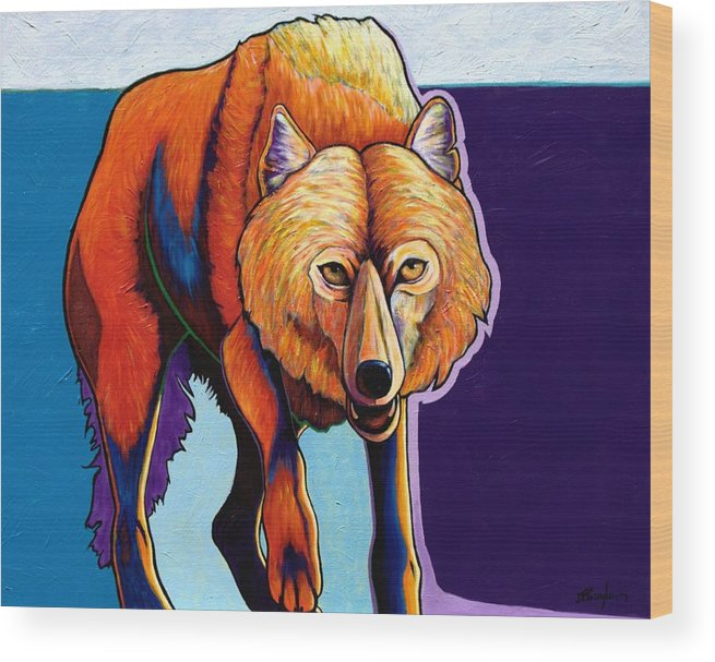 Contemporary Wood Print featuring the painting Strictly Business - Arctic Wolf by Joe Triano