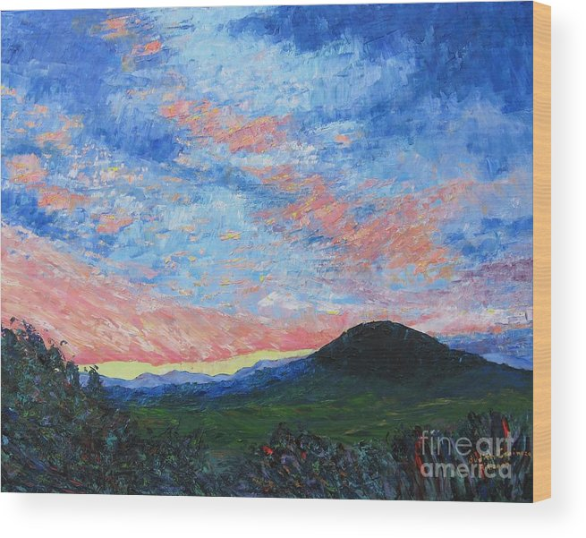 Landscape Wood Print featuring the painting Sun Setting Over Mole Hill - SOLD by Judith Espinoza
