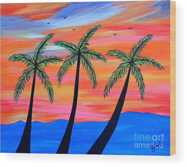 Palm Wood Print featuring the painting Sunset Palms by JoNeL Art