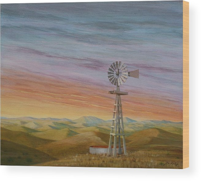 High Plains Wood Print featuring the painting Windmill Sunset by J W Kelly