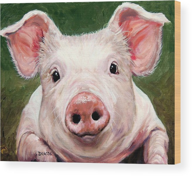 Pig Wood Print featuring the painting Sweet Little Piglet on Green by Dottie Dracos