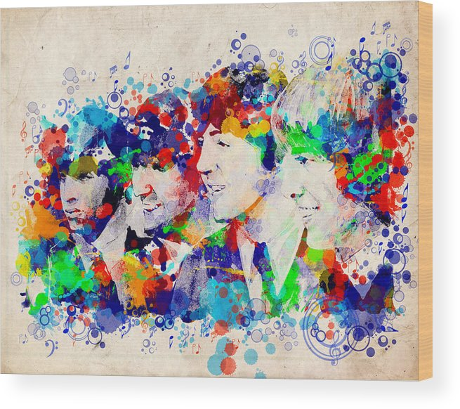 Beatles Wood Print featuring the painting The Beatles 7 by Bekim M