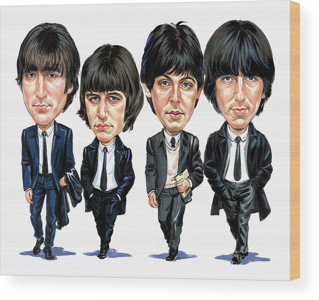 The Beatles Wood Print featuring the painting The Beatles by Art